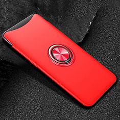 Custodia Silicone Ultra Sottile Morbida Cover con Magnetico Anello Supporto T01 per Oppo Find X Rosso