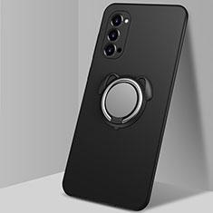 Custodia Silicone Ultra Sottile Morbida Cover con Magnetico Anello Supporto T01 per Oppo Reno4 5G Nero
