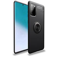 Custodia Silicone Ultra Sottile Morbida Cover con Magnetico Anello Supporto T01 per Samsung Galaxy S20 5G Nero
