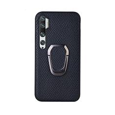 Custodia Silicone Ultra Sottile Morbida Cover con Magnetico Anello Supporto T01 per Xiaomi Mi Note 10 Nero