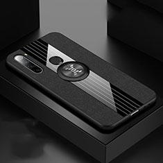 Custodia Silicone Ultra Sottile Morbida Cover con Magnetico Anello Supporto T01 per Xiaomi Redmi Note 8T Nero