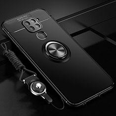 Custodia Silicone Ultra Sottile Morbida Cover con Magnetico Anello Supporto T01 per Xiaomi Redmi Note 9 Nero