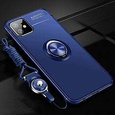 Custodia Silicone Ultra Sottile Morbida Cover con Magnetico Anello Supporto T02 per Apple iPhone 11 Blu