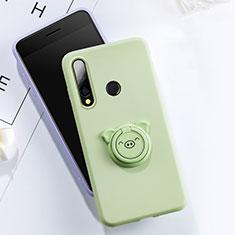 Custodia Silicone Ultra Sottile Morbida Cover con Magnetico Anello Supporto T02 per Huawei Honor 20E Verde