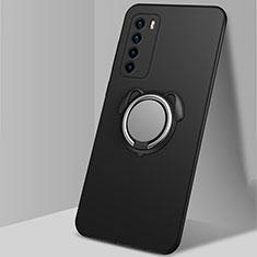 Custodia Silicone Ultra Sottile Morbida Cover con Magnetico Anello Supporto T02 per Huawei Honor Play4 5G Nero