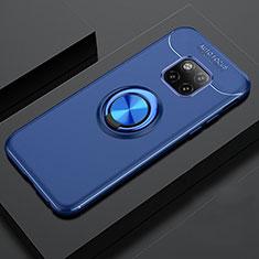 Custodia Silicone Ultra Sottile Morbida Cover con Magnetico Anello Supporto T02 per Huawei Mate 20 Pro Blu