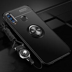 Custodia Silicone Ultra Sottile Morbida Cover con Magnetico Anello Supporto T02 per Huawei P30 Lite Nero