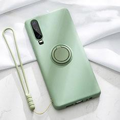 Custodia Silicone Ultra Sottile Morbida Cover con Magnetico Anello Supporto T02 per Huawei P30 Verde