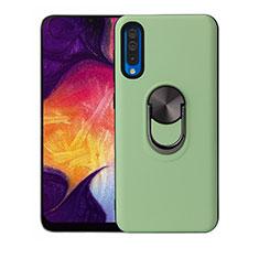 Custodia Silicone Ultra Sottile Morbida Cover con Magnetico Anello Supporto T02 per Samsung Galaxy A70 Verde