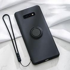 Custodia Silicone Ultra Sottile Morbida Cover con Magnetico Anello Supporto T02 per Samsung Galaxy S10e Nero
