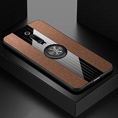 Custodia Silicone Ultra Sottile Morbida Cover con Magnetico Anello Supporto T02 per Xiaomi Mi 9T Pro Marrone