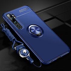 Custodia Silicone Ultra Sottile Morbida Cover con Magnetico Anello Supporto T02 per Xiaomi Mi Note 10 Blu