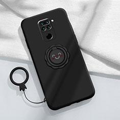 Custodia Silicone Ultra Sottile Morbida Cover con Magnetico Anello Supporto T02 per Xiaomi Redmi Note 9 Nero