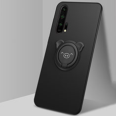 Custodia Silicone Ultra Sottile Morbida Cover con Magnetico Anello Supporto T03 per Huawei Honor 20 Pro Nero