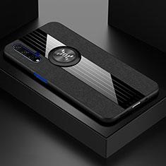 Custodia Silicone Ultra Sottile Morbida Cover con Magnetico Anello Supporto T03 per Huawei Nova 5T Nero