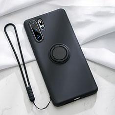 Custodia Silicone Ultra Sottile Morbida Cover con Magnetico Anello Supporto T03 per Huawei P30 Pro Nero