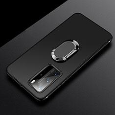 Custodia Silicone Ultra Sottile Morbida Cover con Magnetico Anello Supporto T03 per Huawei P40 Pro Nero