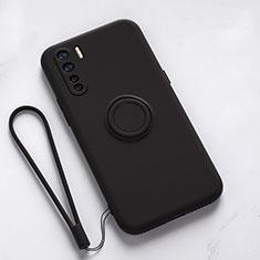 Custodia Silicone Ultra Sottile Morbida Cover con Magnetico Anello Supporto T03 per Oppo Find X2 Lite Nero