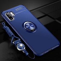 Custodia Silicone Ultra Sottile Morbida Cover con Magnetico Anello Supporto T03 per Samsung Galaxy Note 10 Plus 5G Blu