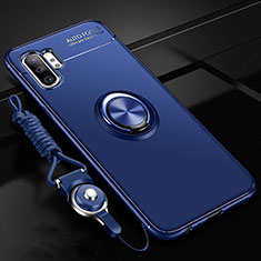 Custodia Silicone Ultra Sottile Morbida Cover con Magnetico Anello Supporto T03 per Samsung Galaxy Note 10 Plus Blu