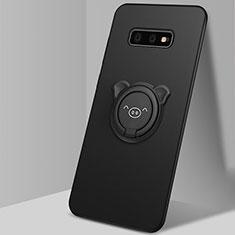 Custodia Silicone Ultra Sottile Morbida Cover con Magnetico Anello Supporto T03 per Samsung Galaxy S10e Nero