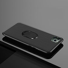 Custodia Silicone Ultra Sottile Morbida Cover con Magnetico Anello Supporto T04 per Apple iPhone 11 Pro Max Nero