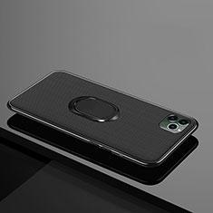 Custodia Silicone Ultra Sottile Morbida Cover con Magnetico Anello Supporto T04 per Apple iPhone 11 Pro Nero