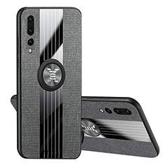 Custodia Silicone Ultra Sottile Morbida Cover con Magnetico Anello Supporto T04 per Huawei P20 Pro Nero