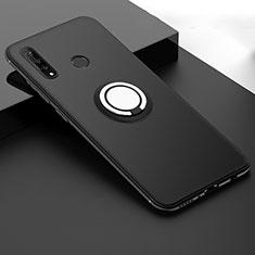 Custodia Silicone Ultra Sottile Morbida Cover con Magnetico Anello Supporto T04 per Huawei P30 Lite New Edition Nero