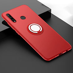 Custodia Silicone Ultra Sottile Morbida Cover con Magnetico Anello Supporto T04 per Huawei P30 Lite New Edition Rosso