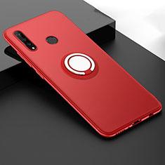 Custodia Silicone Ultra Sottile Morbida Cover con Magnetico Anello Supporto T04 per Huawei P30 Lite Rosso