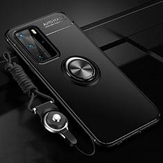 Custodia Silicone Ultra Sottile Morbida Cover con Magnetico Anello Supporto T04 per Huawei P40 Pro Nero