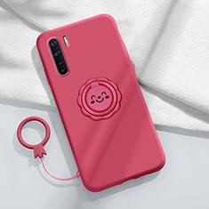 Custodia Silicone Ultra Sottile Morbida Cover con Magnetico Anello Supporto T04 per Oppo Find X2 Lite Rosso Rosa