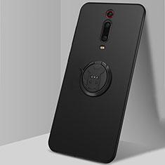 Custodia Silicone Ultra Sottile Morbida Cover con Magnetico Anello Supporto T04 per Xiaomi Redmi K20 Nero