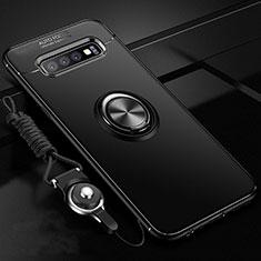 Custodia Silicone Ultra Sottile Morbida Cover con Magnetico Anello Supporto T05 per Samsung Galaxy S10 Plus Nero