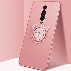 Custodia Silicone Ultra Sottile Morbida Cover con Magnetico Anello Supporto T05 per Xiaomi Mi 9T Rosa