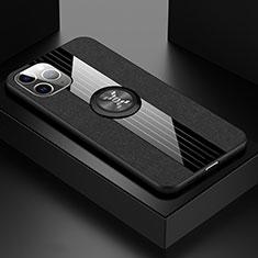 Custodia Silicone Ultra Sottile Morbida Cover con Magnetico Anello Supporto T06 per Apple iPhone 11 Pro Nero