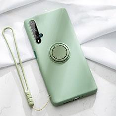 Custodia Silicone Ultra Sottile Morbida Cover con Magnetico Anello Supporto T06 per Huawei Nova 5T Verde