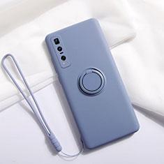 Custodia Silicone Ultra Sottile Morbida Cover con Magnetico Anello Supporto T06 per Oppo Find X2 Pro Grigio
