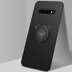 Custodia Silicone Ultra Sottile Morbida Cover con Magnetico Anello Supporto T06 per Samsung Galaxy S10 Nero