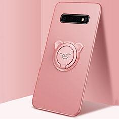 Custodia Silicone Ultra Sottile Morbida Cover con Magnetico Anello Supporto T06 per Samsung Galaxy S10 Plus Rosa