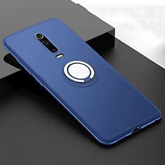 Custodia Silicone Ultra Sottile Morbida Cover con Magnetico Anello Supporto T06 per Xiaomi Mi 9T Blu