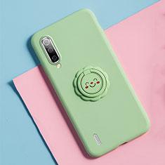 Custodia Silicone Ultra Sottile Morbida Cover con Magnetico Anello Supporto T06 per Xiaomi Mi A3 Verde