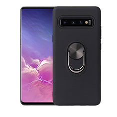 Custodia Silicone Ultra Sottile Morbida Cover con Magnetico Anello Supporto T07 per Samsung Galaxy S10 Plus Nero