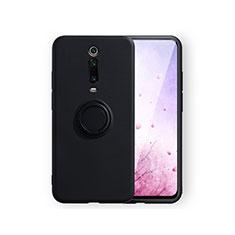 Custodia Silicone Ultra Sottile Morbida Cover con Magnetico Anello Supporto T07 per Xiaomi Mi 9T Pro Nero