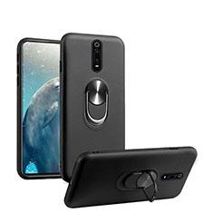 Custodia Silicone Ultra Sottile Morbida Cover con Magnetico Anello Supporto T08 per Xiaomi Mi 9T Nero