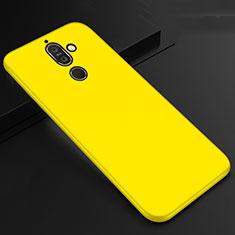 Custodia Silicone Ultra Sottile Morbida Cover S01 per Nokia 7 Plus Giallo