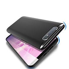 Custodia Silicone Ultra Sottile Morbida S02 per Samsung Galaxy A80 Nero