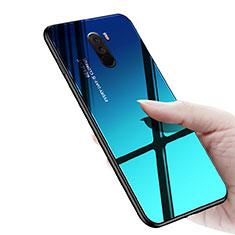 Custodia Silicone Ultra Sottile Morbida Specchio M03 per Xiaomi Pocophone F1 Blu