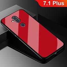 Custodia Silicone Ultra Sottile Morbida Specchio per Nokia 7.1 Plus Rosso